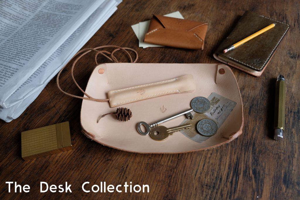 lerif designs desk collection pieces arranged on a desk
