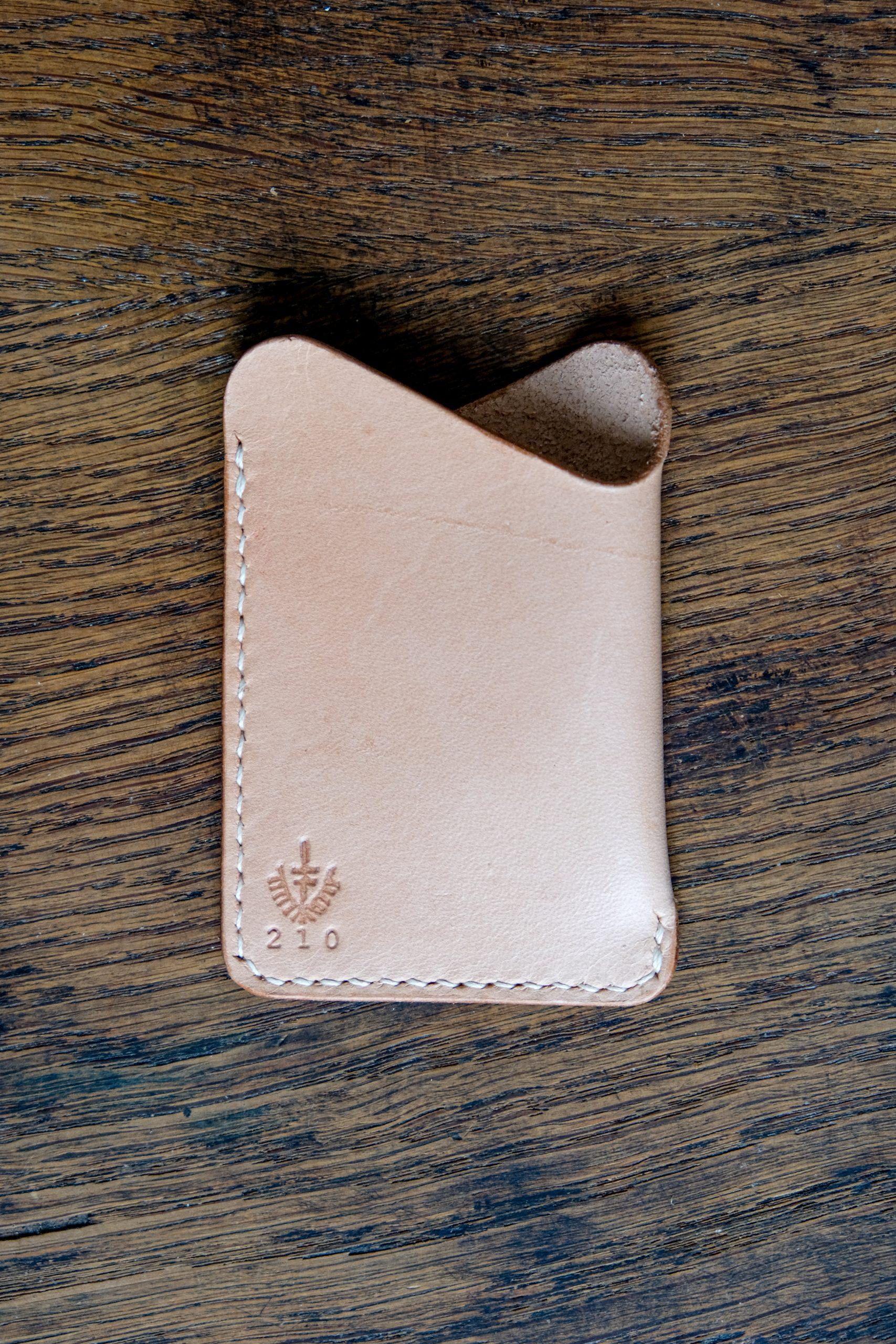 lerif designs leather wave cardholder natural on wood background