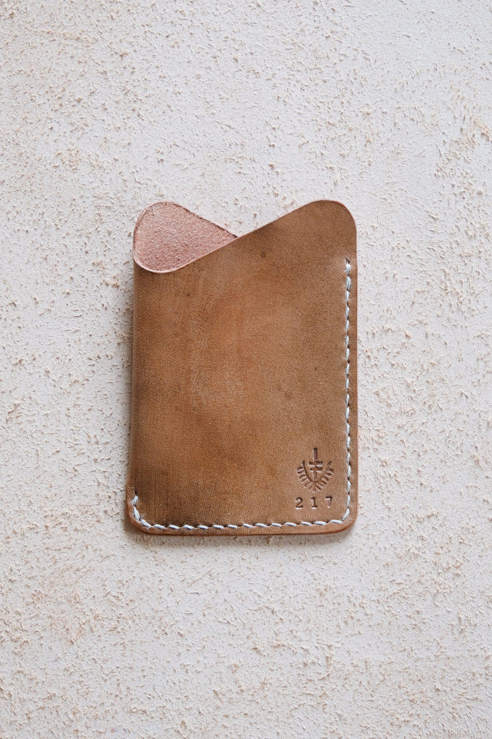 lerif designs leather wave cardholder walnut on beige background