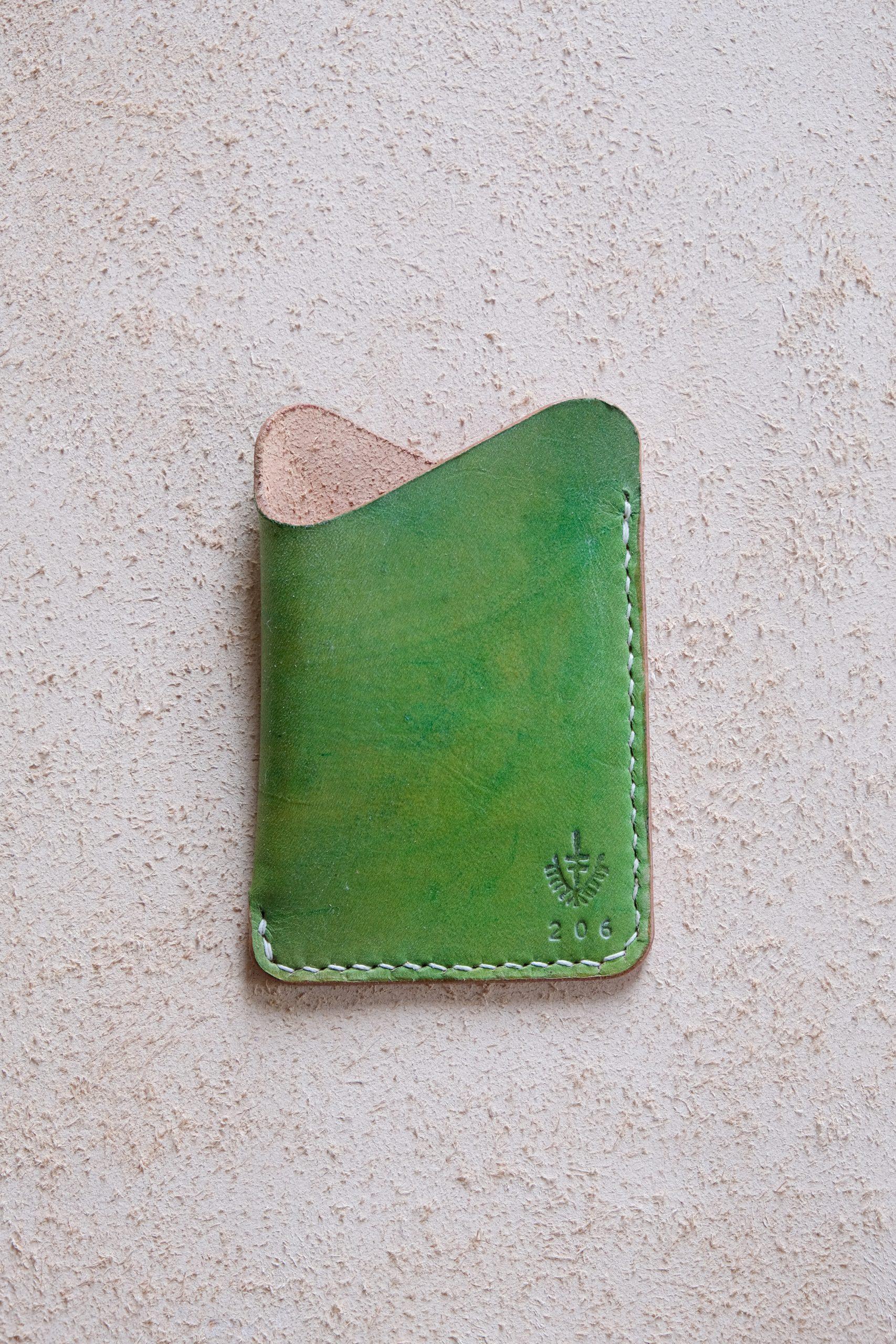 lerif designs leather wave cardholder lemon lime on beige background