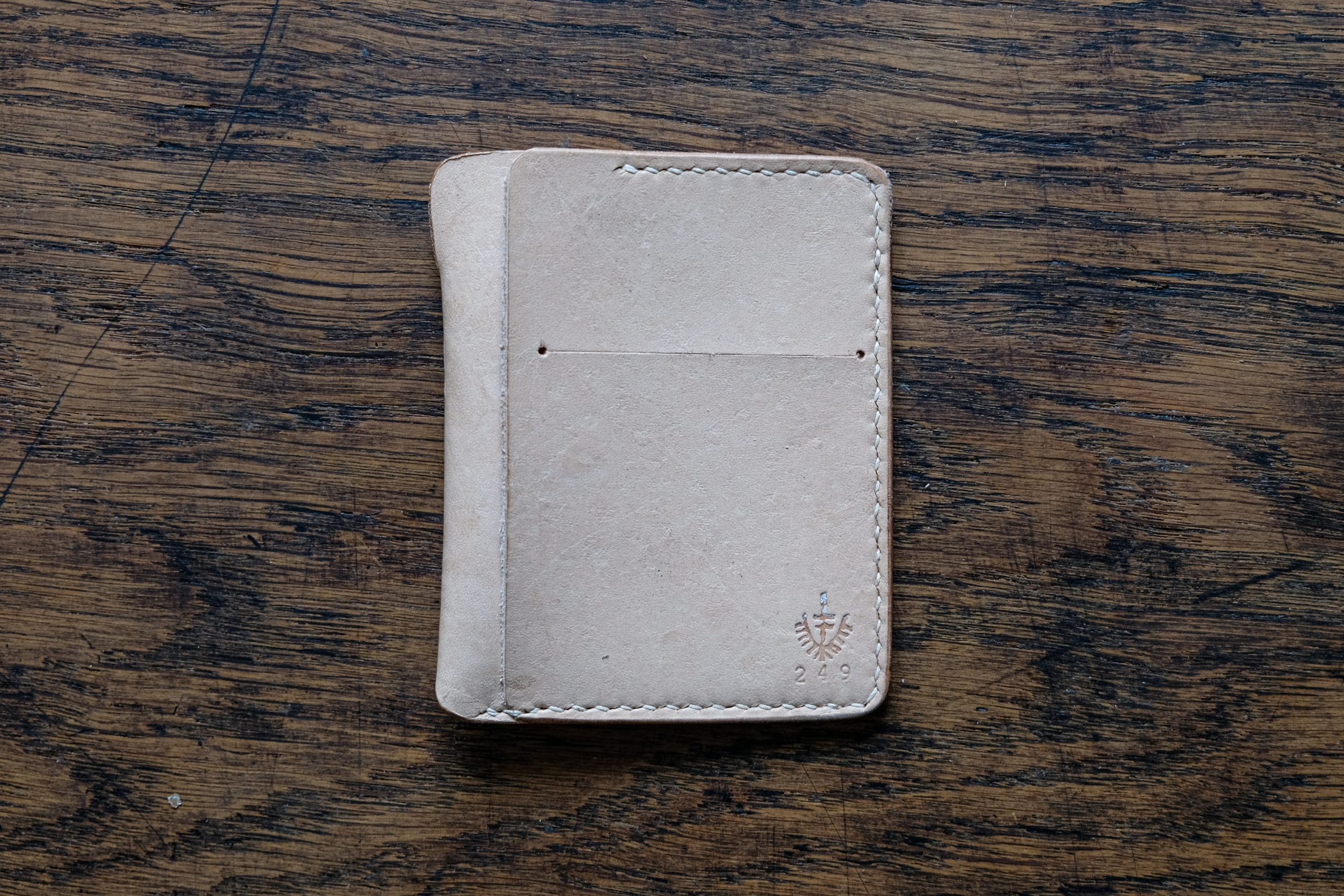 lerif designs Vale leather wallet in natural demo on wood background